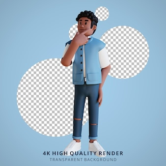 Schwarze junge leute, die 3d-charakterillustration denken