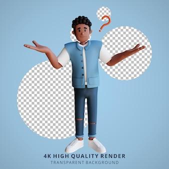 Schwarze junge leute wissen nichts 3d-charakterillustration