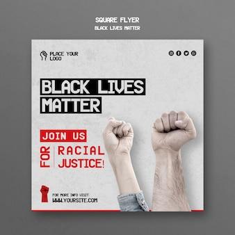 Schwarze leben materie quadratische flyer vorlage