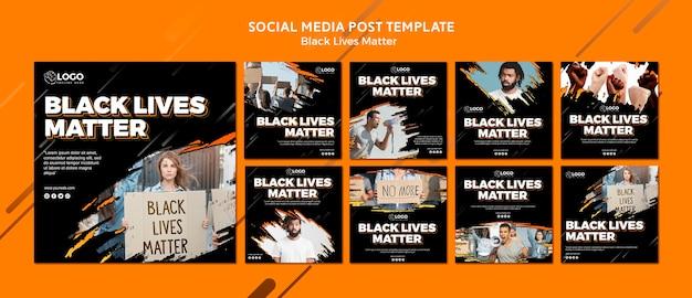 Schwarze leben sind wichtig für social media post-vorlagen