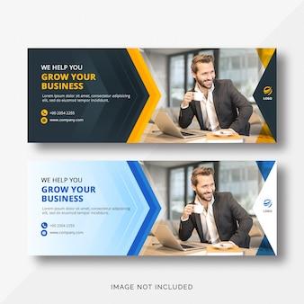Schwarze, orange und blaue business facebook cover