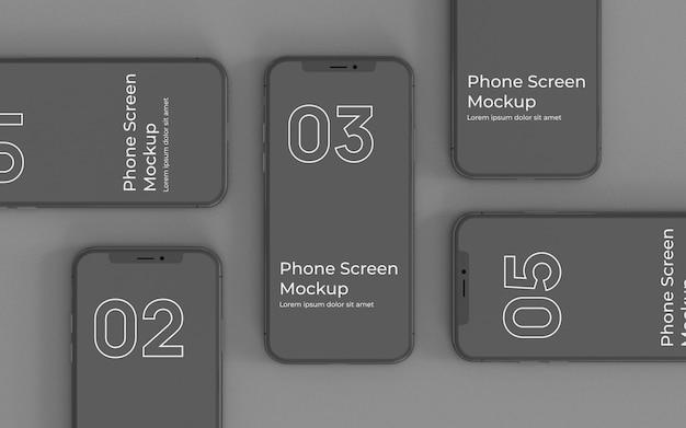 Schwarze smartphone-modell-draufsicht