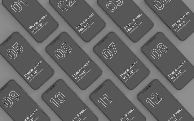Schwarze telefonbildschirme mockup-draufsicht