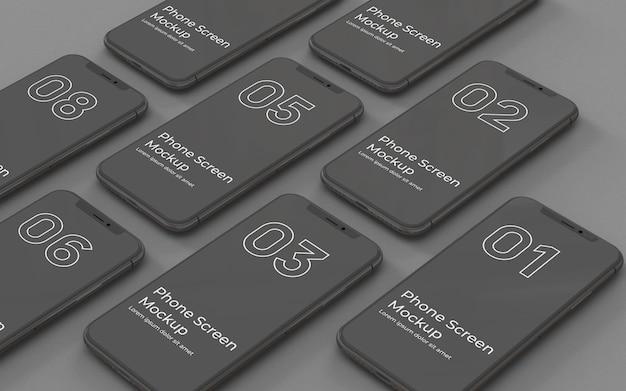 Schwarze telefonbildschirme modell links ansicht