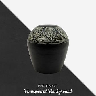 Schwarze vase oder blumentopf auf transparentem