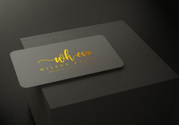 Schwarze visitenkarte logo mockup premium psd