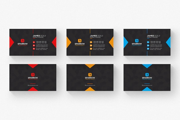 Schwarze visitenkarte mit den roten und orange details