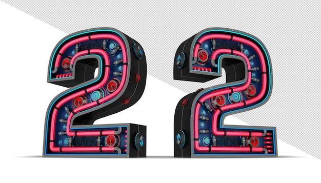 Schwarze zahl mit roter und blauer neonlicht-3d-renderingillustration.