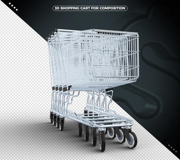 Schwarzer 3d einkaufswagen isoliert