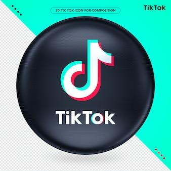 Schwarzer ellipsen-3d-logo-tik-token