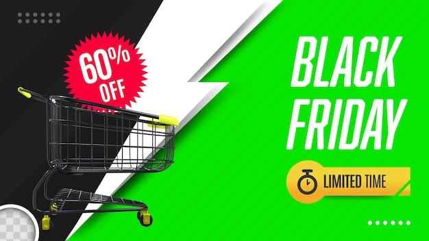 Schwarzer freitag-banner mit einkaufswagen 3d-rendering