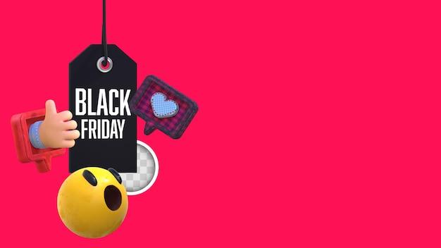 Schwarzer freitag-hintergrund mit emojis. 3d-rendering