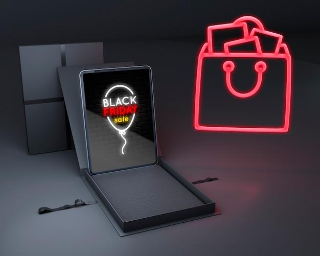 Schwarzer freitag-hintergrund mit tablettenmodell
