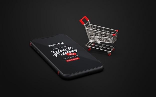 Schwarzer freitag modell auf smartphone mit trolley