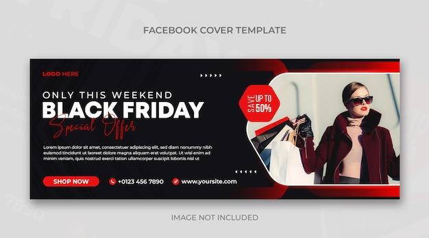 Schwarzer freitag verkauf horizontale banner- oder facebook-cover-design-vorlage