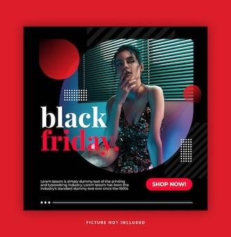 Schwarzer freitags-instagramm-geschichten-tempalte mit dunkelroter farbe