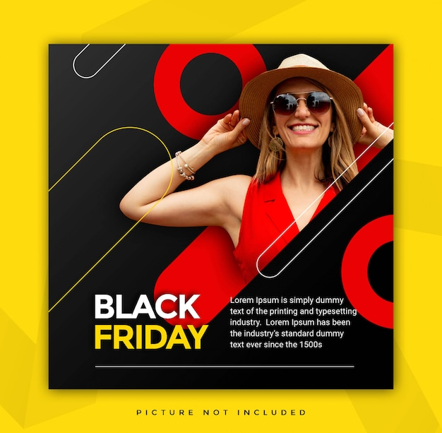 Schwarzer freitags-instagramm-geschichten-tempalte mit verkaufs-ikone