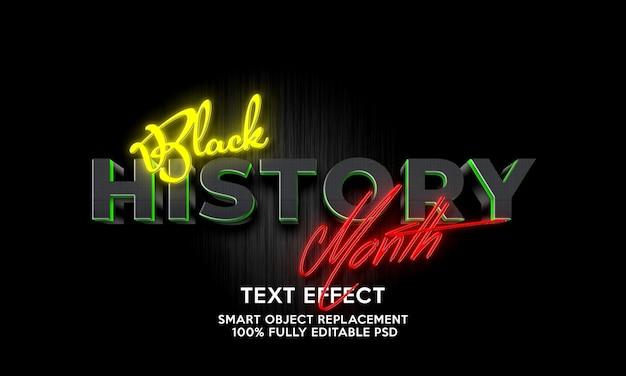 Schwarzer geschichtsmonat texteffektvorlage