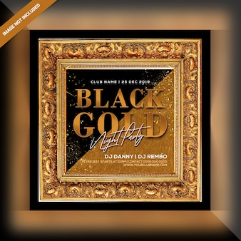 Schwarzer goldnachtparty flyer