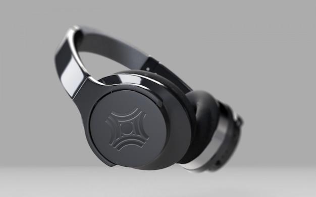 Schwarzer kopfhörer auf grau
