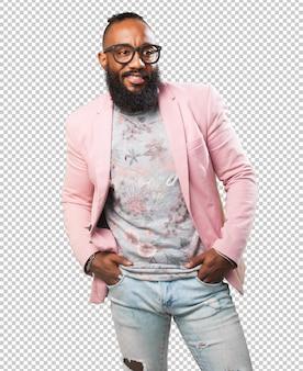 Schwarzer mann posiert