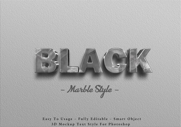 Schwarzer marmor-texteffekt 3d an der wand