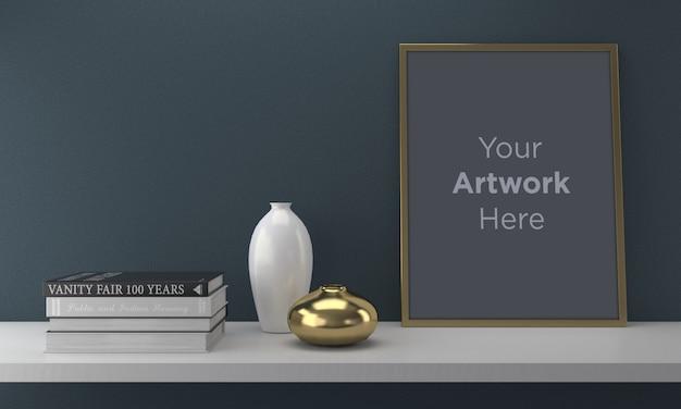 Schwarzer rahmen, der auf regal mockup design mit vase und büchern legt
