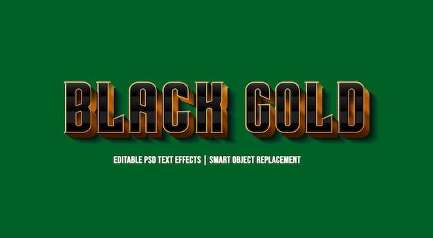 Schwarzer text-art-effekt des gold3d