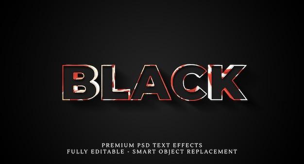 Schwarzer textstileffekt, premium-texteffekte