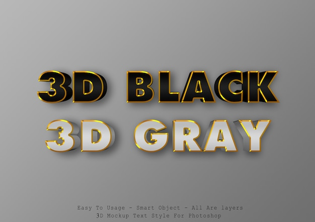 Schwarzer und grauer effekt des textes 3d