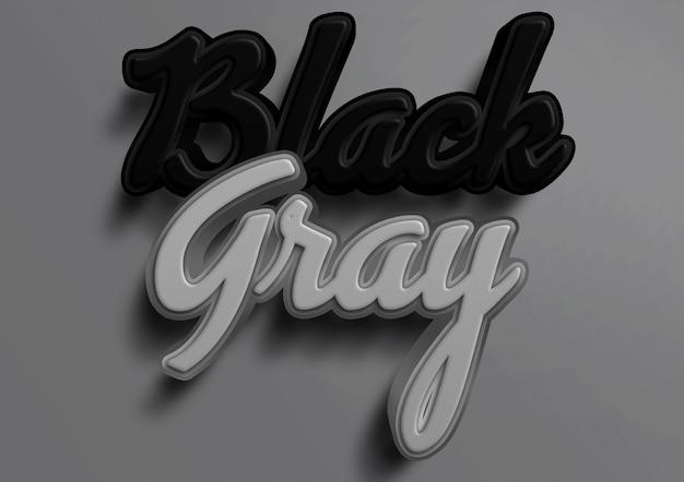 Schwarzer und grauer texteffekt des modells 3d