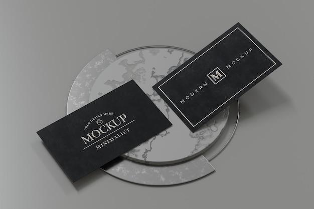 Schwarzer visitenkarten-modellentwurf im 3d-rendering