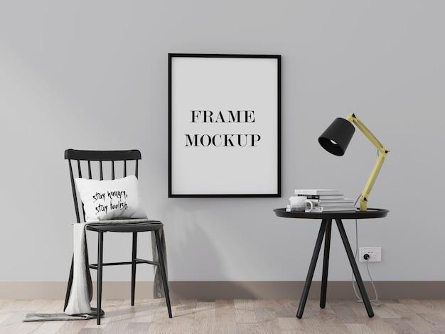 Schwarzes bilderrahmenmodell im innenraum mit schwarzen möbeln