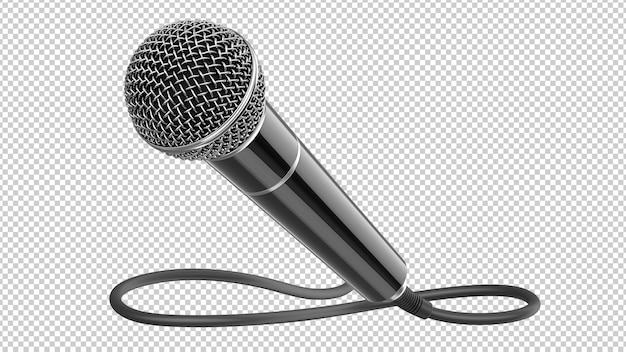 Schwarzes dynamisches mikrofon mit isoliertem kabel