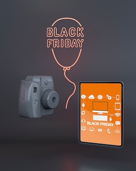 Schwarzes freitag-tablettenmodell mit orange neonlichtern
