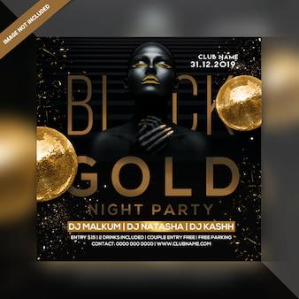Schwarzes goldparty flyer