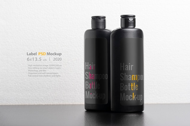 Schwarzes haar shampooflaschen modell