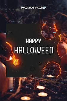 Schwarzes halloween-foto mit brennendem papier