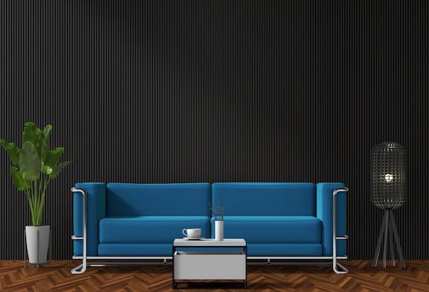 Schwarzes innenwohnzimmer mit blauem sofa, anlage, lampe, 3d übertragen