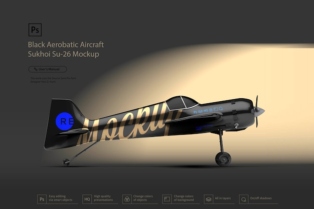 Schwarzes kunstflugzeug sukhoi-modell