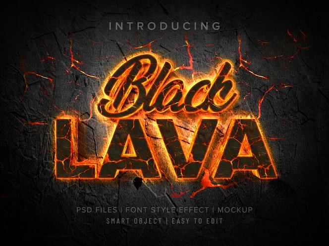 Schwarzes lava 3d-schriftschnitt-effektmodell