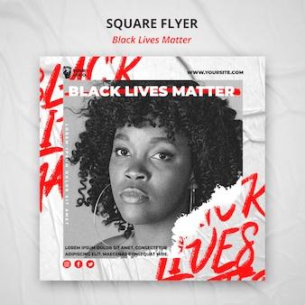 Schwarzes leben ist ein quadratischer flyer