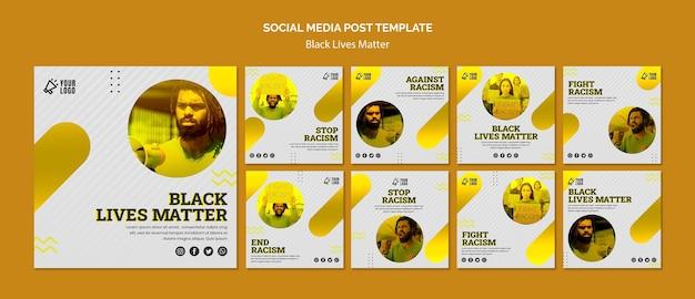 Schwarzes leben ist wichtig für das social-media-post-thema