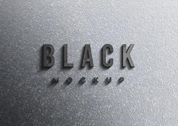 Schwarzes logo-modell an der wand