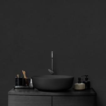 Schwarzes luxusbadezimmer-innenmodell