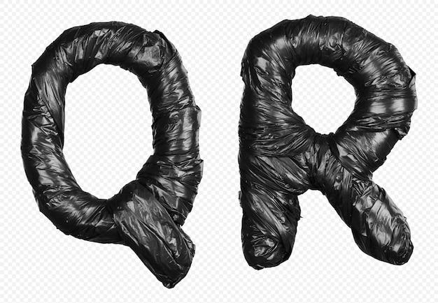 Schwarzes müllsackalphabet buchstaben q und r isoliert