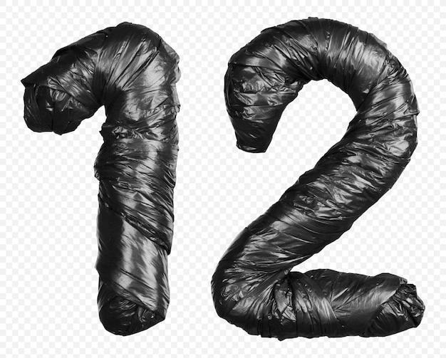 Schwarzes müllsackalphabet nummer 1 und 2 isoliert