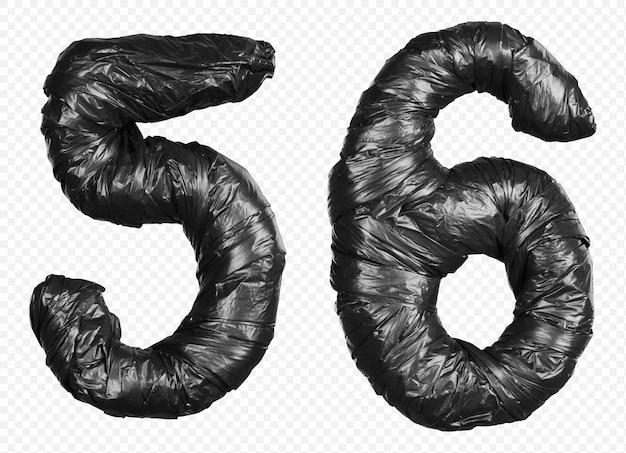 Schwarzes müllsackalphabet nummer 5 und 6 isoliert