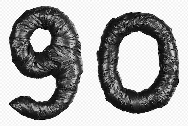 Schwarzes müllsackalphabet nummer 9 und 0 isoliert