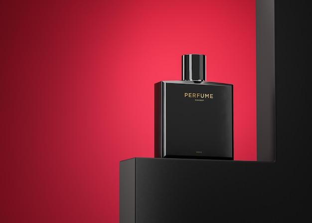 Schwarzes parfümflaschenlogomodell für markenidentität 3d-rendering